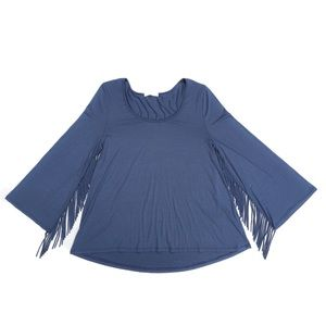 ENTRO Fringe Slate Blue Top Women's Large Blouse